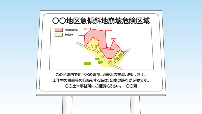 急傾斜地崩壊危険区域の看板イメージ