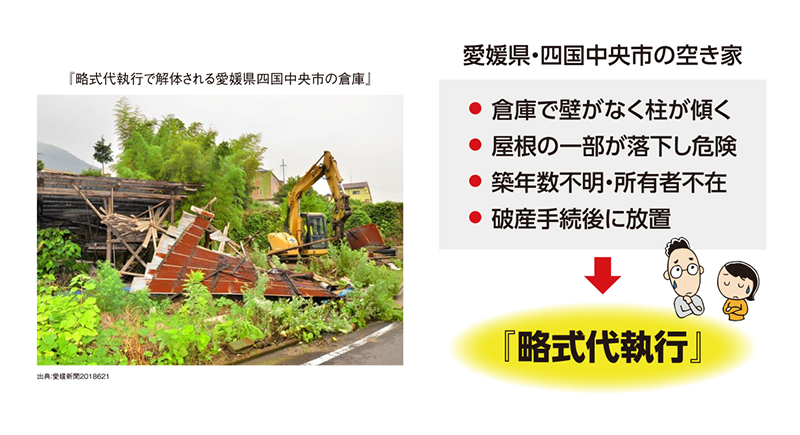 略式代執行で解体される愛媛県四国中央市の倉庫